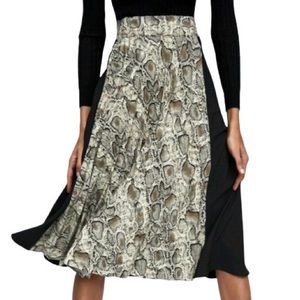 NWT Zara Pleated Animal Snake Print Midi Skirt